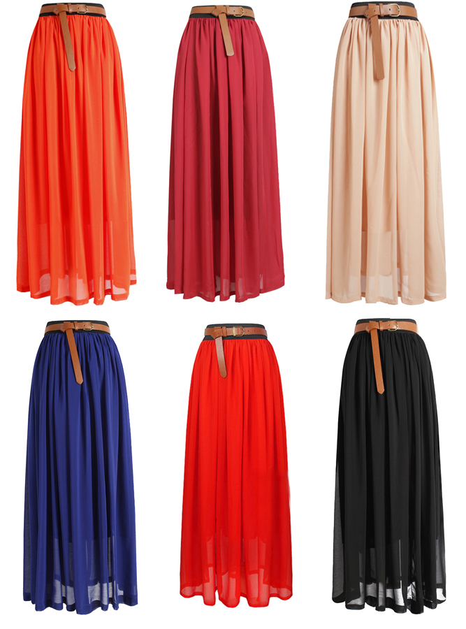 Women-Retro-Double-Layer-Chiffon-Pleated-Elastic-Waist-Maxi-Dress-Long-Skirt-HOT
