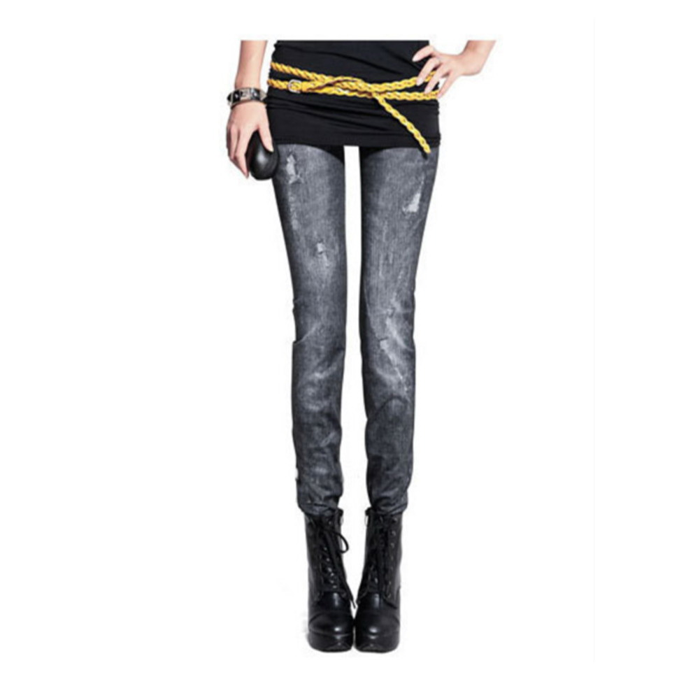 Slimming Fashion Faux Denim Jean Leggings Jeggings Skinny ...