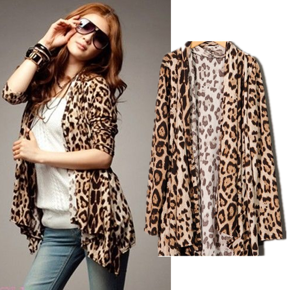 New-Ladies-Leopard-Prints-Casual-Slimming-Open-Irregular-Cardigan-Jacket