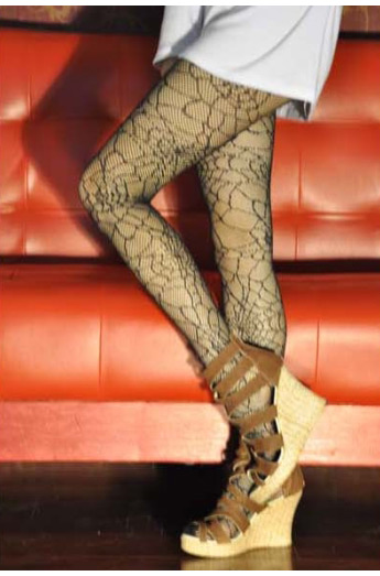 Black Fishnet Pattern Jacquard Stockings Pantyhose Tights Leggings Ladies