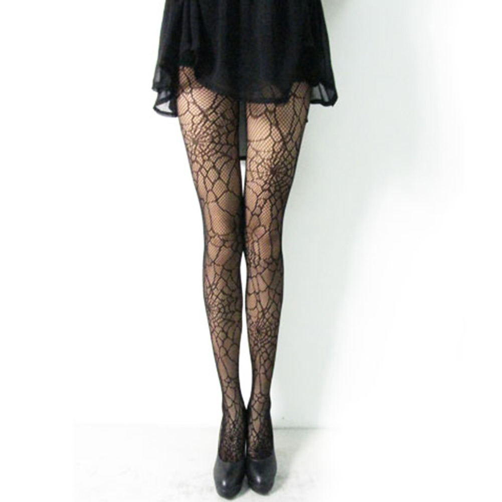 Sexy-Pattern-Bodycon-Jacquard-Party-Slim-Women-Cobweb-Black-Stockings