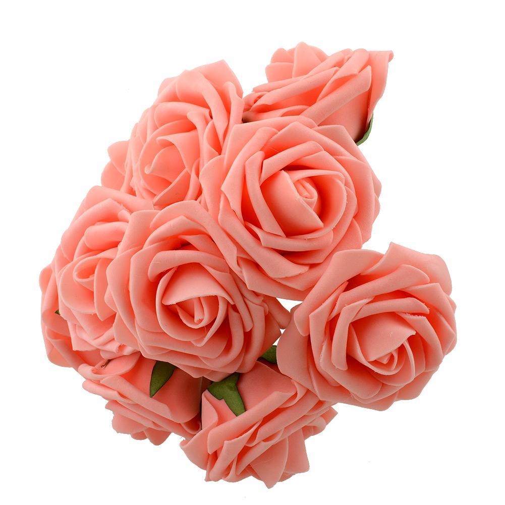 10 Artificial Rose Flower Wedding Bridal Bouquet Prom Rome Home Decor
