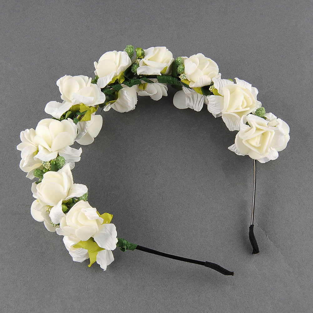 Flower-Garland-Floral-Bridal-Headband-Hairband-Wedding-Party-Prom-Pink-White