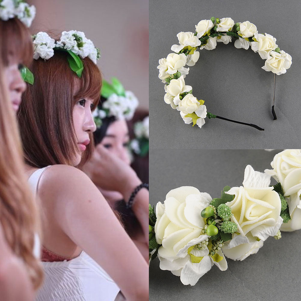 Flower-Garland-Floral-Bridal-Headband-Wedding-Party-Prom-Hair-Accessories