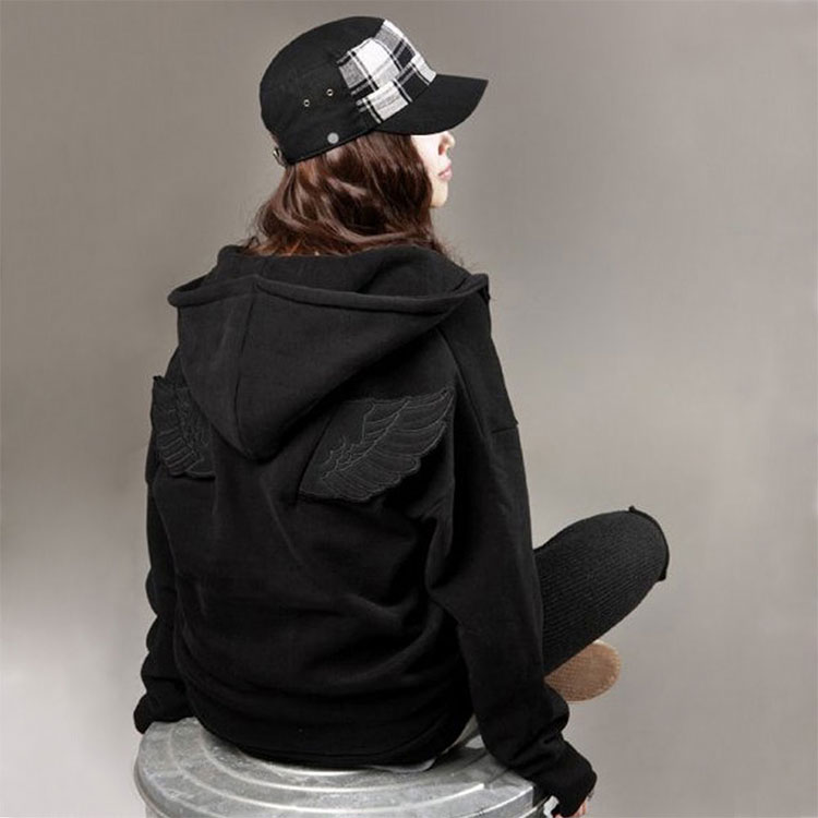 Fashion Cute Womens Girls Angel Wings Hoodie Jacket Hooded Coat Outerwear Tops