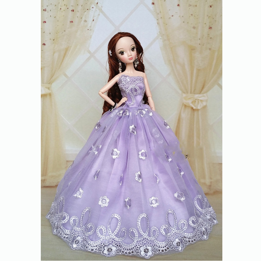 Purple Handmade Wedding Gown Dresses Outfit Girl Party For Princess Barbie Doll
