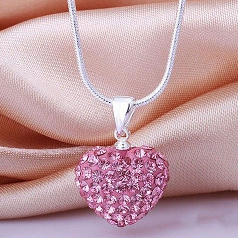 A161-Women-Soft-Crystal-Heart-Shape-Pendant-925-Sterling-Silver-Necklace-Gift