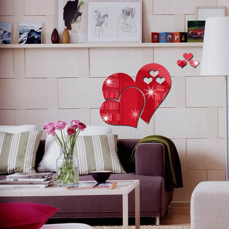 A45E-3D-Mirror-Love-Hearts-Wall-Sticker-Decal-Room-Art-Mural-Removable-hot
