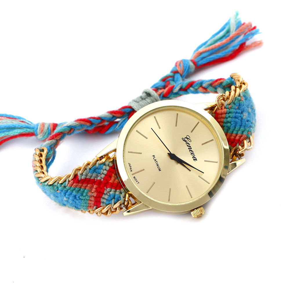 7F07-Ethnic-Watch-Wristwatches-Braided-Strap-Friendship-Bracelet-For-Ladies