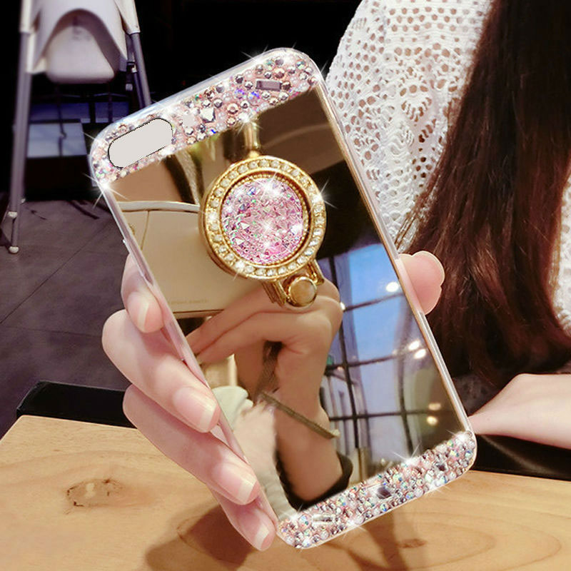 07C8-Luxury-Bling-Diamond-Crystal-Ring-Holder-Mirror-Case-Cover-For-phone-HOT