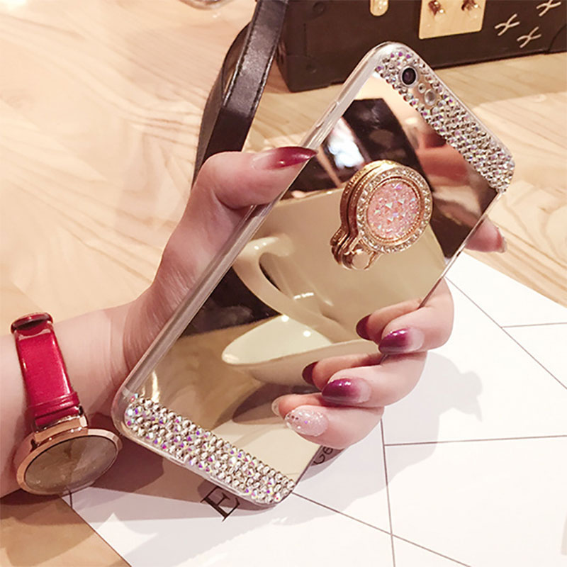 98BE-Phone-Case-Crystal-Diamond-Mirror-Finger-Ring-Holder-TPU-Cover-For-iPhone7