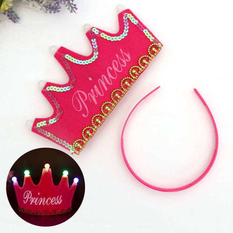 0D18-Child-Birthday-Decorative-Crown-Hat-Glowing-Cap-Ornament-Multi-Pattern