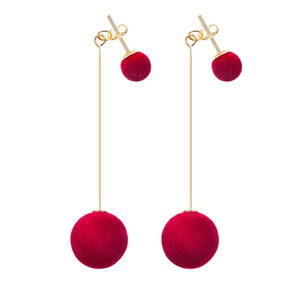 8CF9-Drop-Ear-Ring-Dangle-Earrings-Elegant-Velvet-Plush-Ball-Beauty-Women-Lady