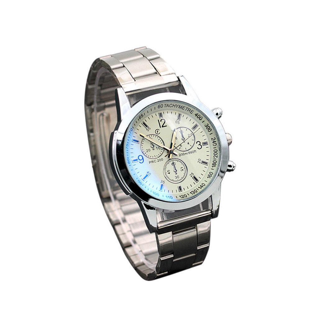46AE-Steel-Watch-Men-039-S-Watch-Simple-Stainless-Steel-Black-amp-White-Durable