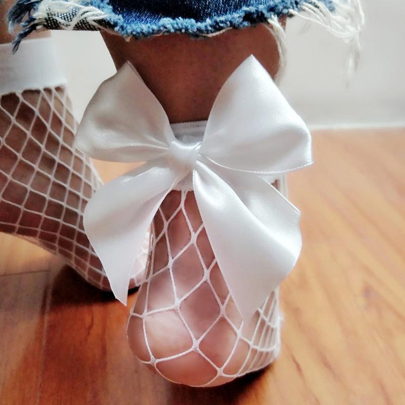 EA5E-Fish-Bowknotsock-Shorts-Spring-Fish-Net-Women-Ankle-Lacesock
