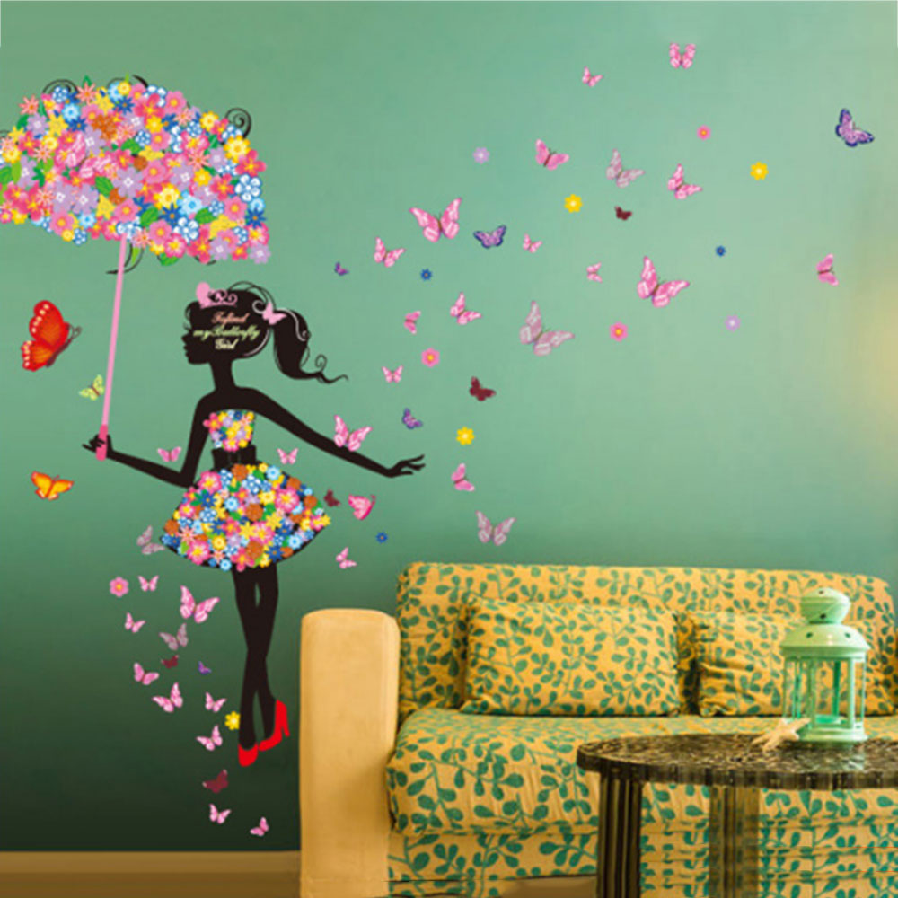 D821-Lovely-Girl-Self-Adhesive-DIY-Wallpaper-Fashion-Home-Decor-Living-Room