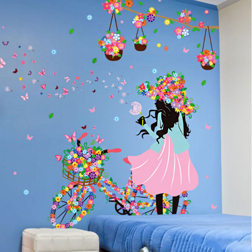 10C9-Lovely-Girl-Self-Adhesive-DIY-Wallpaper-Fashion-Home-Decor-Living-Room