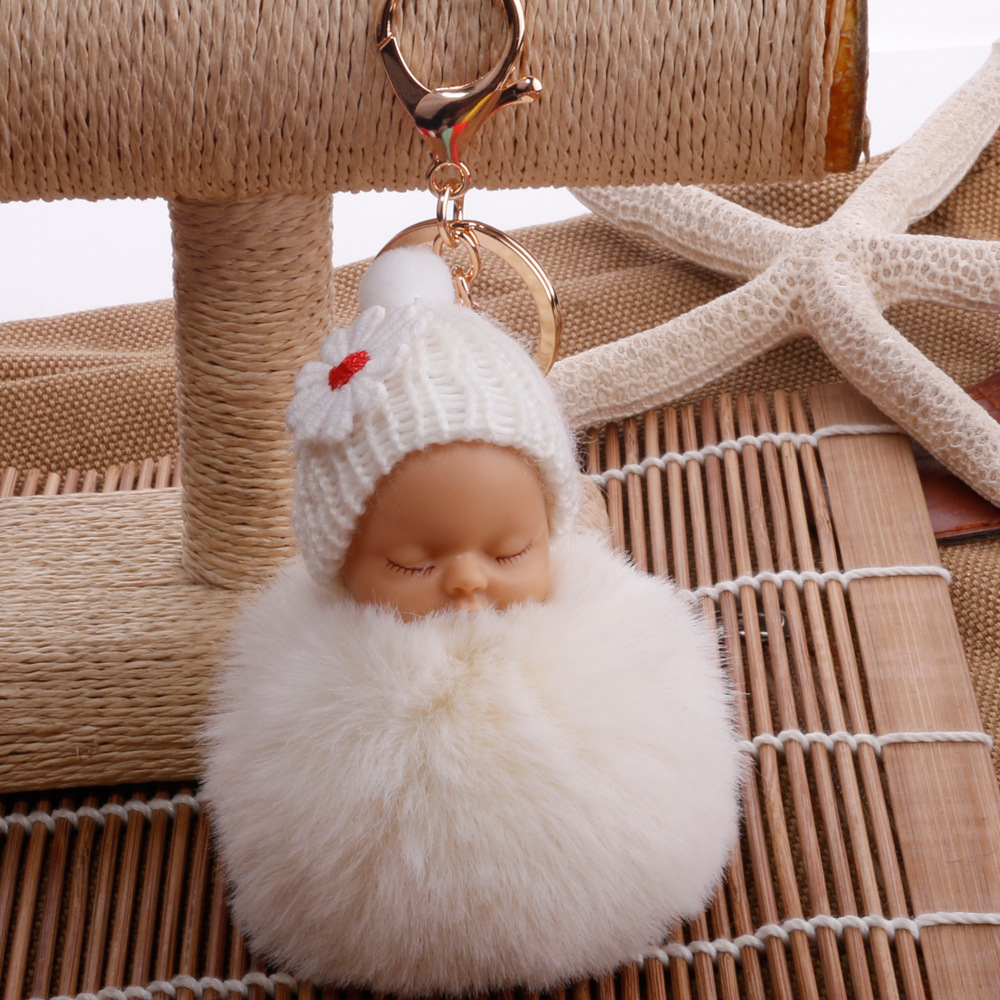 B01A-Key-Ring-Cute-Colorful-Little-Baby-Plush-Small-Gift-Pompon-Key-Holder